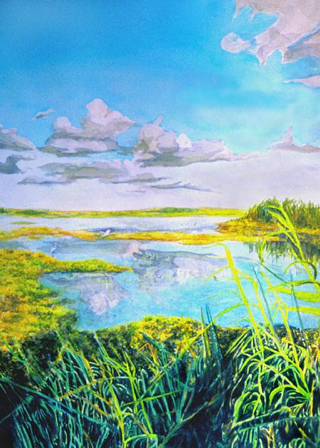 Anahuac Wetlands, Texas:    Original Watercolor by Marie Haeffner-Reeves