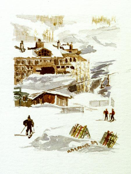 Snowmass Skiing,  Colorado:  Original Watercolor by Marie Haeffner-Reeves