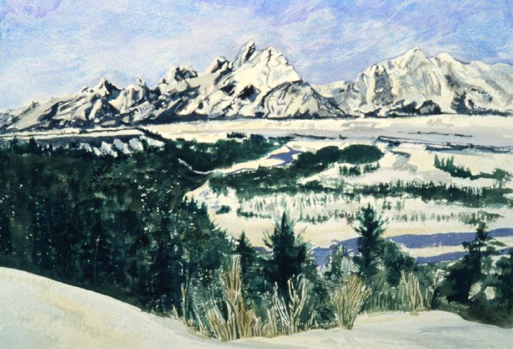 Teton Mountains from the Snake River Overlook, Wyoming:    Original Watercolor by Marie Haeffner-Reeves