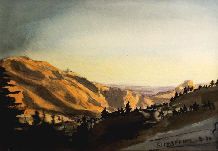 Yosemite Overlook, Yosemite National Park, California:   Original Watercolor by Marie Haeffner-Reeves