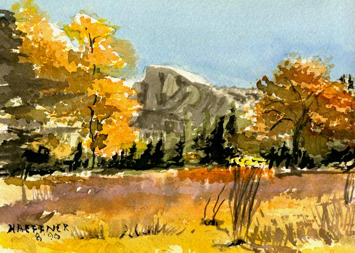 Yosemite Half Dome Meadow, Yosemite National Park, California:   Original Watercolor by Marie Haeffner-Reeves